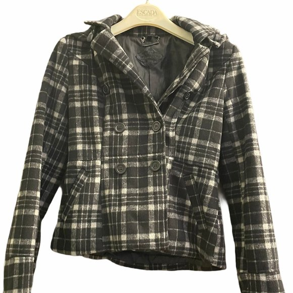 Jou Jou Plaid Pea Coat Style Short Coat/Jacket